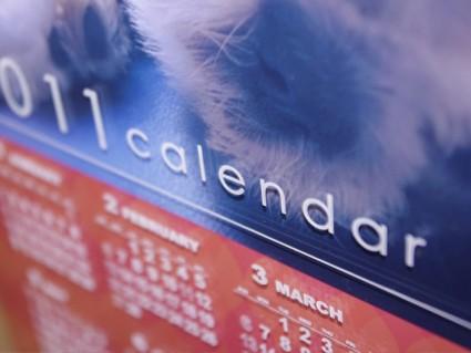 アクリル樹脂製の年間カレンダー付きフォトスタンド
